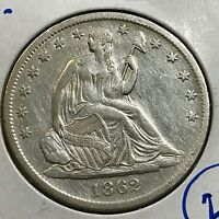 1862 S SEATED LIBERTY SILVER HALF DOLLAR  COIN ALMOST UNCIRCULATED DETAILS