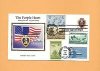 US FDC 2003 FIRST DAY COVER 3784 PURPLE HEART COMBO COLORANO SILK MILITARY
