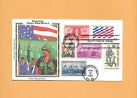 FDC 1999 FIRST DAY HONORING THOSE WHO SERVED 3331 COMBO DUAL COLORANO SILK