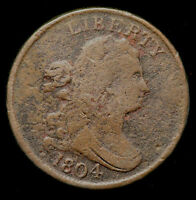 1804 C 6 DRAPED BUST HALF CENT