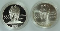 1995 CYCLING DOLLAR PROOF UNC 2 COINS SILVER $1 US COIN LOT 3125