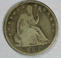 1876 CC SEATED LIBERTY HALF DOLLAR F 50C US COIN LOT 979