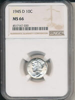 1945 D MERCURY SILVER DIME  STUNNING NGC CERTIFIED MS66
