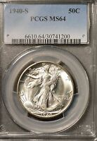 1940 S   WALKING LIBERTY HALF PCGS MS64 / GREAT EYE APPEAL / BRIGHT WHITE