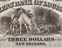 UNC 1800S $3 THREE DOLLAR BILL CITIZENS BANK OF LOUISIANA NOTE LARGE CURRENCY