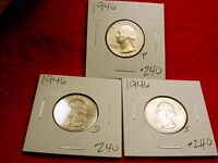1946 P/D/S WASHINGTON QUARTERS NICE BU 3 COIN SET    240
