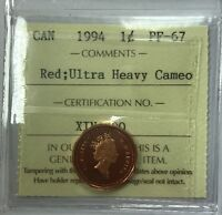 1994 CANADIAN ONE CENT COIN ICCS GRADED PF 67 RED UHC