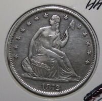 1872 S BETTER DATE SEATED SILVER HALF DOLLAR AU LIGHTLY CLEANED