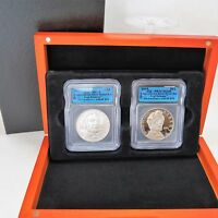 2009 -P ICG-MS70/PR70 2 COIN LINCOLN SILVER DOLLAR SET FIRST RELEASE -ICG CERTF.