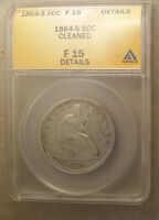 1864 S LIBERTY SEATED HALF DOLLAR ANACS F 15 DETAILS CLEANED
