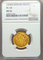 HUNGARY 1694 DATED GOLD DUCAT NGC 62 LEOPOLD ONLY 6 KNOWN  MADONNA