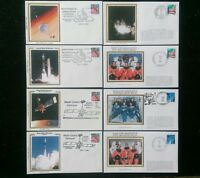 1996-2001 U.S. SPACE PROGRAM EVENT COVERS LOT OF 8 DIFF COLORANO SILK NOT FDC