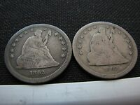 TWO 1862 SEATED LIBERTY QUARTERS
