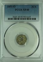 1851 O THREE CENT SILVER PCGS XF40 3CS US COIN LOT 3970