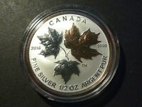 CANADA 2016 $4 SILVER MAPLE LEAF 1/2 OZ SINGLE FROM FRACTIONAL GOLD PLATED SET