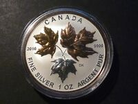 CANADA 2016 $5 SILVER MAPLE LEAF 1 OZ SINGLE FROM FRACTIONAL GOLD PLATED SET