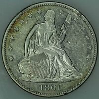 1861 SEATED HALF DOLLAR AU DETAILS 50C US COIN LOT 2830