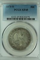 1871 S SEATED HALF DOLLAR PCGS XF45 50C US COIN LOT 2969