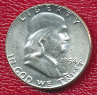 1954 FRANKLIN SILVER HALF DOLLAR CHOICE BRILLIANT UNCIRCULATED