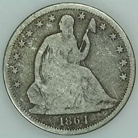1864 S SEATED HALF DOLLAR VG DETAILS 50C US COIN LOT 3513
