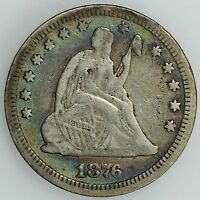1876 CC SEATED QUARTER VF DETAILS 25C US COIN LOT 1698