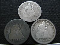 SEATED QUARTERS LOT WITH 1854 O