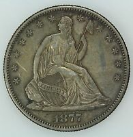 1877 S SEATED HALF DOLLAR AU DETAILS 50C US COIN LOT 4027