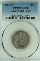 1853 O SEATED QUARTER PCGS VF20 ARROWS AND RAYS 25C US COIN LOT 3426