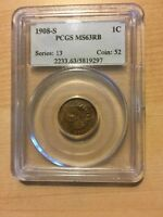 1908 S 1C PCGS MS63RB   KEY DATE NICE COIN