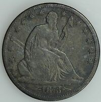 1873 CC SEATED HALF DOLLAR F DETAILS FINE 50C US COIN LOT 1656