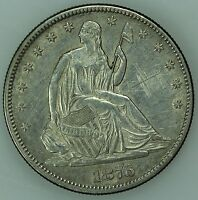 1876 SEATED HALF DOLLAR UNC DETAILS 50C US COIN LOT 3995