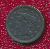 1851 BRAIDED HAIR LARGE CENT FULL LIBERTY VISIBLE