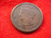 1851 BRAIDED HAIR LARGE CENT NICE BROWN COIN      240