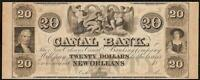 LARGE 1800S $20 DOLLAR BILL NEW ORLEANS CANAL BANK NOTE CURRENCY PAPER MONEY UNC