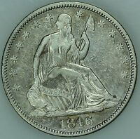 1846 SEATED HALF DOLLAR XF/AU DETAILS 50C US COIN LOT 3258