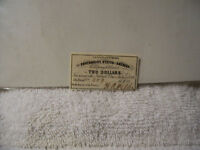 AUTHENTIC CONFEDERATE 2 DOLLARS BOND COUPON CAME FROM A $50 BOND 1862