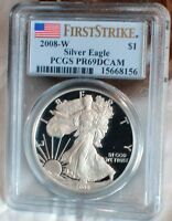 2008 W AMERICAN SILVER EAGLE PROOF PCGS PR69 DCAM FIRST STRIKE