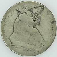1876 SEATED HALF DOLLAR AG/G DETAILS GOOD 50C US COIN LOT 4089