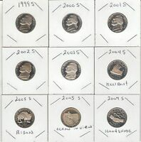 SET OF 13 PROOF JEFFERSON NICKELS MINTED IN SAN FRANCISCO DATES FROM1999 TO 2009