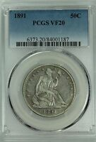 1891 SEATED HALF DOLLAR PCGS VF20 50C US COIN LOT 4831