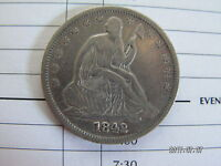 1842 HIGH GRADE SEATED LIBERTY HALF DOLLAR WITH REPUNCHED DATE