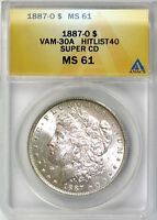 1887 O $1 MORGAN SILVER DOLLAR ANACS MINT STATE 61 VAM 30A SUPER CD