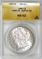 1887 $1 MORGAN SILVER DOLLAR ANACS MINT STATE 62 VAM 3A SUPER CD