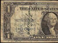 1935 A $1 DOLLAR BILL WWII SHORT SNORTER SIGNED SILVER CERTIFICATE PAPER MONEY