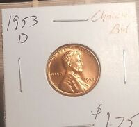 1953 D  LINCOLN WHEAT CENT CHOICE BU  PRICED TO SELL