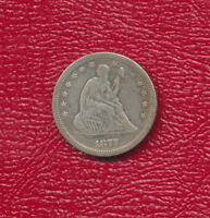 1877 SEATED LIBERTY SILVER QUARTER NICE CIRCULATED QUARTER