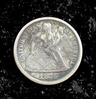 1875 P LY FINE DETAILS CLEANED SEATED LIBERTY SILVER DIME   SC111