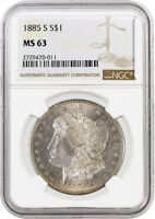 1885 S $1 MORGAN SILVER DOLLAR VAM 8 885 IN DENTICLES NGC MINT STATE 63