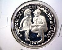 1967 VIETNAM STERLING SILVER PROOF MEDAL NCS .925 FINE  1 OZ ASW FIGHTING MEN