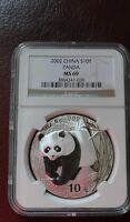 2002 CHINA PANDA SILVER COIN 10 YUAN NGC MINT STATE 69 NCS CONSERVED